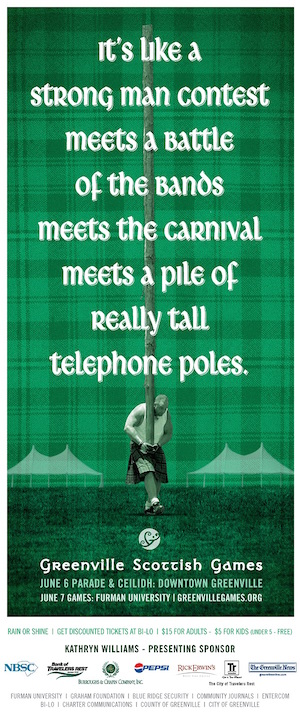 Scottish-Games-freelance-copywriter-Lochness-Marketing-greenville-telephone-pole