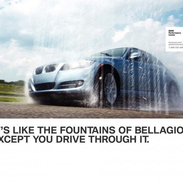 Poster advertising copywriting by Lochness Marketing in greenville for BMW Performance Center bellagio