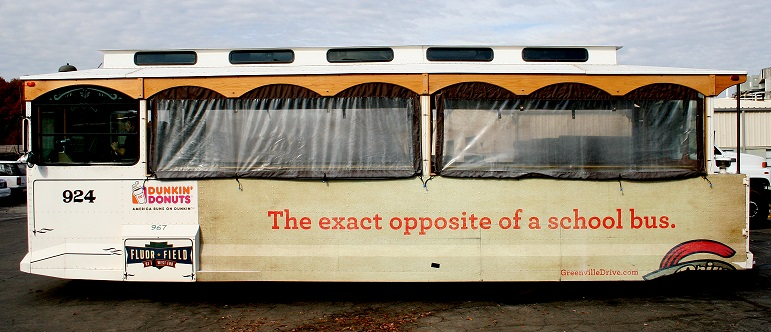 Greenville-Drive-outdoor-advertising-copywriting-by-lochness-marketing-trolley-school-bus
