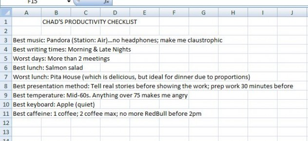 Chad's Productivity Checklist | Lochness Marketing blog David Ogilvy