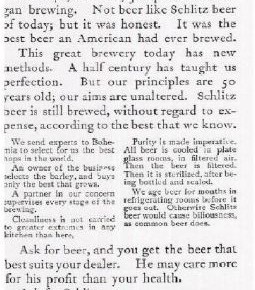 Schlitz Ad from Claude Hopkins | Lochness Marketing blog on David Ogilvy